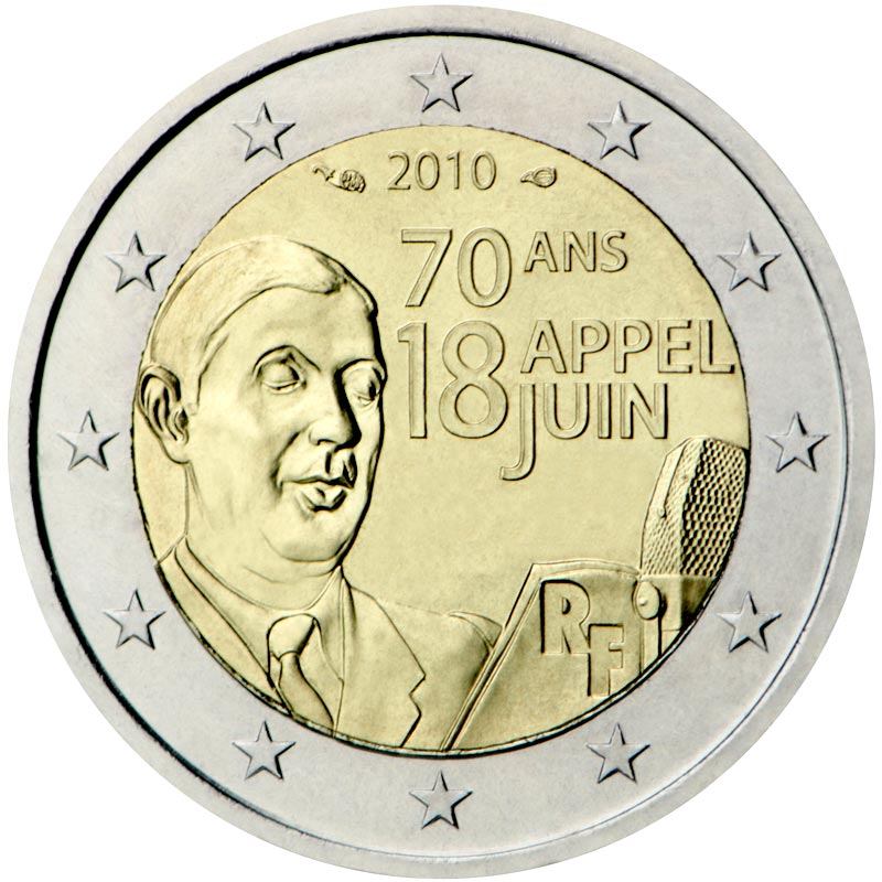 Image of 70th Anniversary of the Appeal of June 18 by General de Gaulle – 2 euro coin France 2010