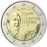 2 euro coin 70th Anniversary of the Appeal of June 18 by General de Gaulle | France 2010