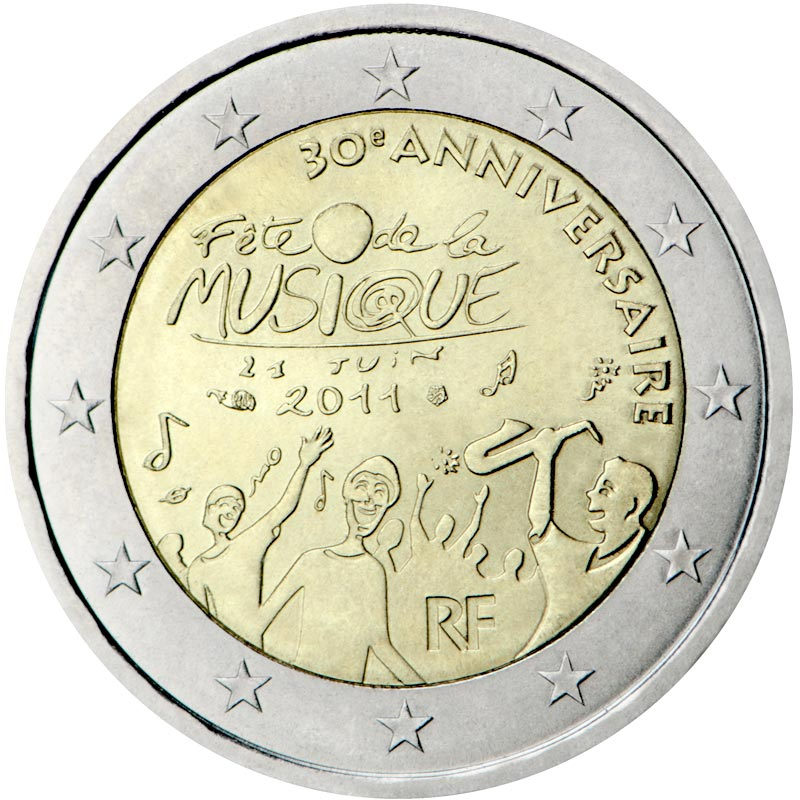 Image of 2 euro coin – 30th anniversary of the Day of Music  | France 2011