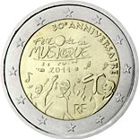 2 euro coin 30th anniversary of the Day of Music  | France 2011