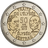 2 euro coin 50 Years of the Élysée Treaty | France 2013