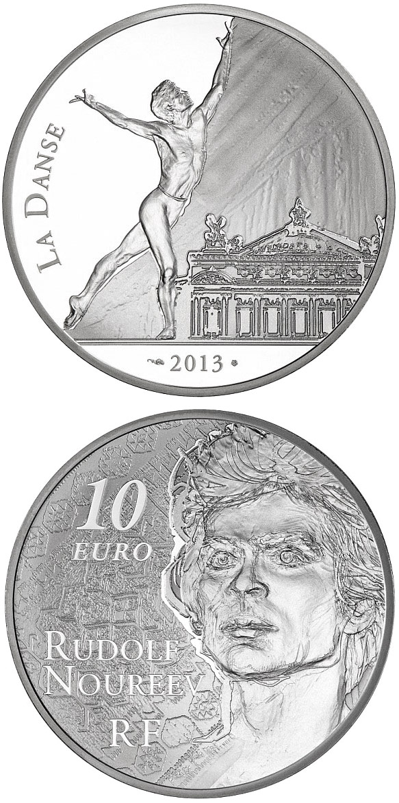 Image of Rudolf Noureev (Dance) – 10 euro coin France 2013.  The Silver coin is of Proof quality.