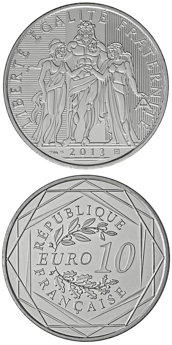 Image of 10 euro coin - Hercule | France 2013.  The Silver coin is of BU quality.