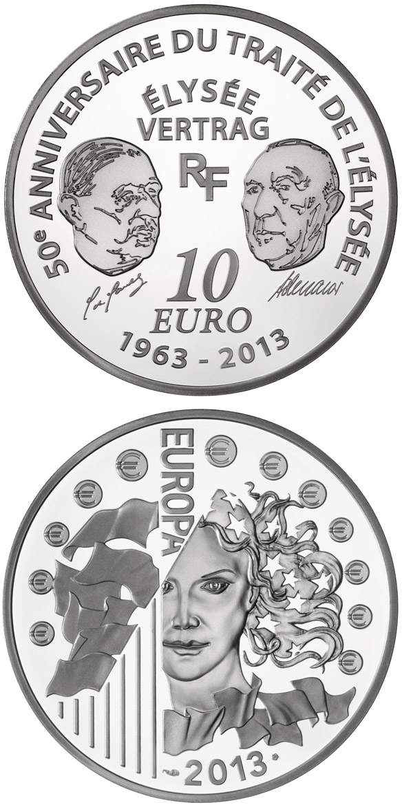 Image of 10 euro coin - 50 Years of the Élysée Treaty | France 2013.  The Silver coin is of Proof quality.