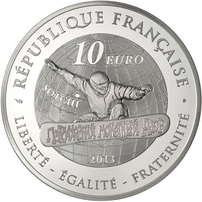 Image of 10 euro coin - Snowboard | France 2013.  The Silver coin is of Proof quality.