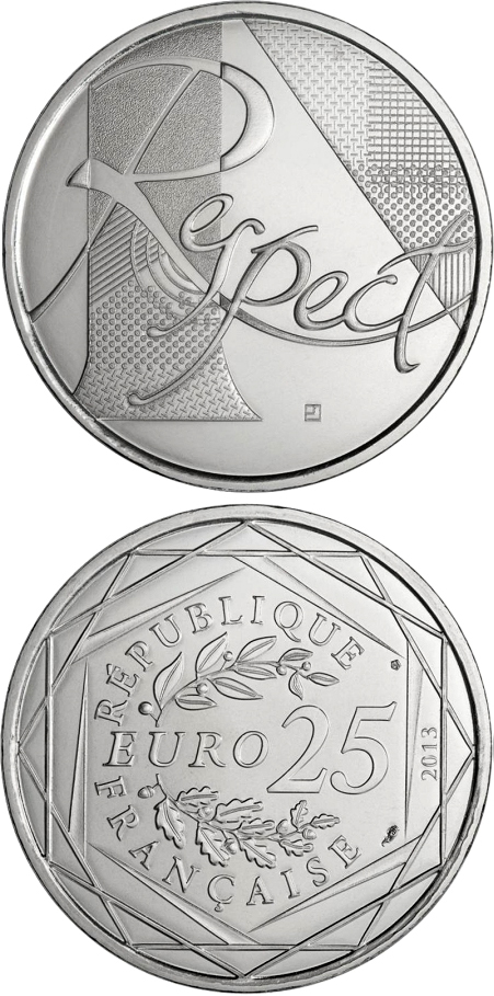 Image of 25 euro coin - Le Respect | France 2013.  The Silver coin is of UNC quality.