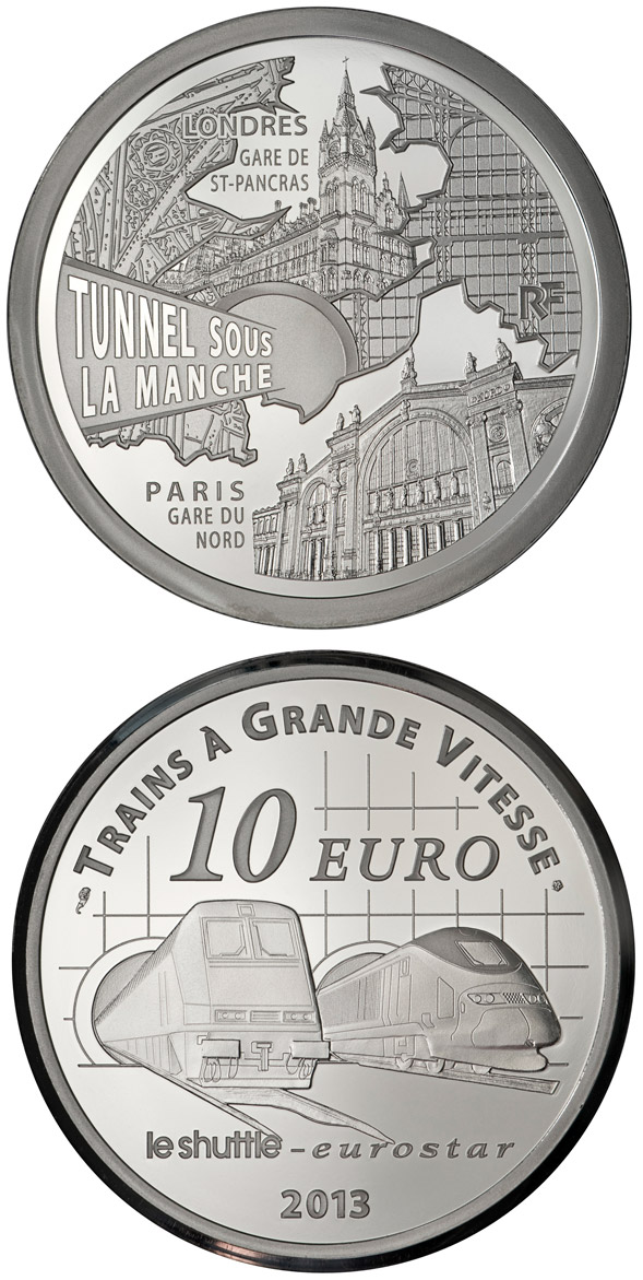 Image of 10 euro coin - Paris North Station, Saint Pancras Station, the Channel Tunel | France 2013.  The Silver coin is of Proof quality.
