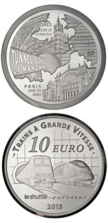 10 euro Paris North Station, Saint Pancras Station, the Channel Tunel - 2013 - Series: Trains of France - France