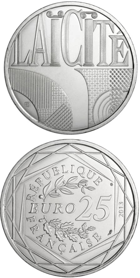 Image of 25 euro coin - Laïcité | France 2013