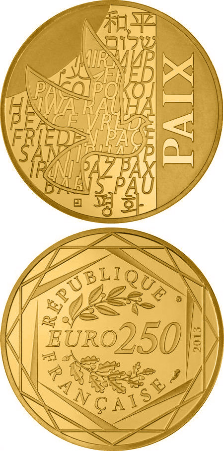 250 euro Paix - 2013 - Series: Values of the French Republic - France