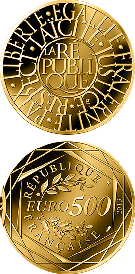 Image of 500 euro coin - Republic | France 2013.  The Gold coin is of UNC quality.