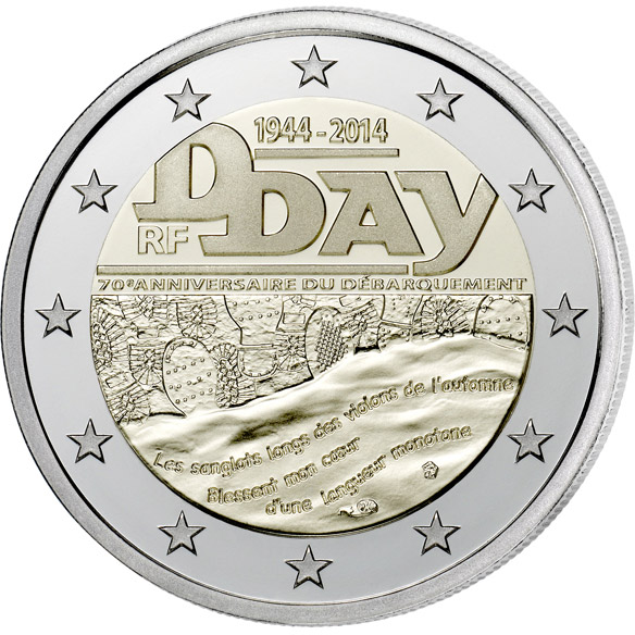 Image of 2 euro coin - 70th Anniversary of the D-Day | France 2014