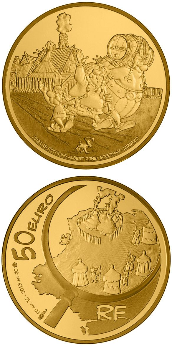 Image of 50 euro coin - Astérix | France 2013.  The Gold coin is of Proof quality.