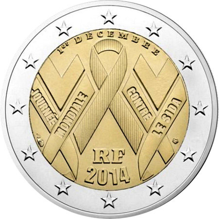 2 euro World AIDS Day 2014 - 2014 - Series: Commemorative 2 euro coins - France