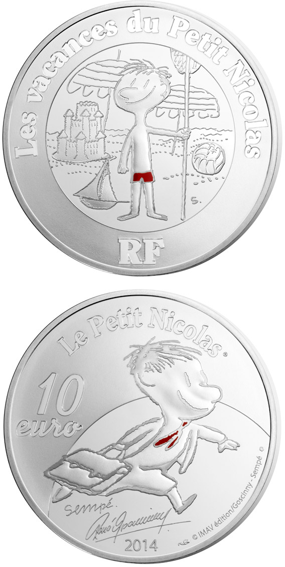 Image of 10 euro coin - Petit Nicolas - Holidays | France 2014.  The Silver coin is of Proof quality.