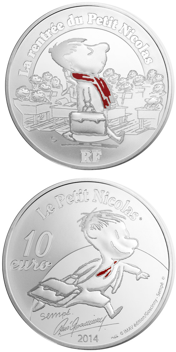 Image of 10 euro coin - Petit Nicolas | France 2014.  The Silver coin is of Proof quality.