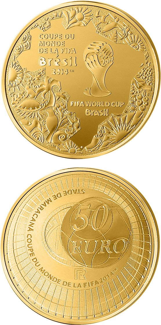 Image of 50 euro coin - FIFA 2014 : World Cup in Brazil | France 2014.  The Gold coin is of Proof quality.