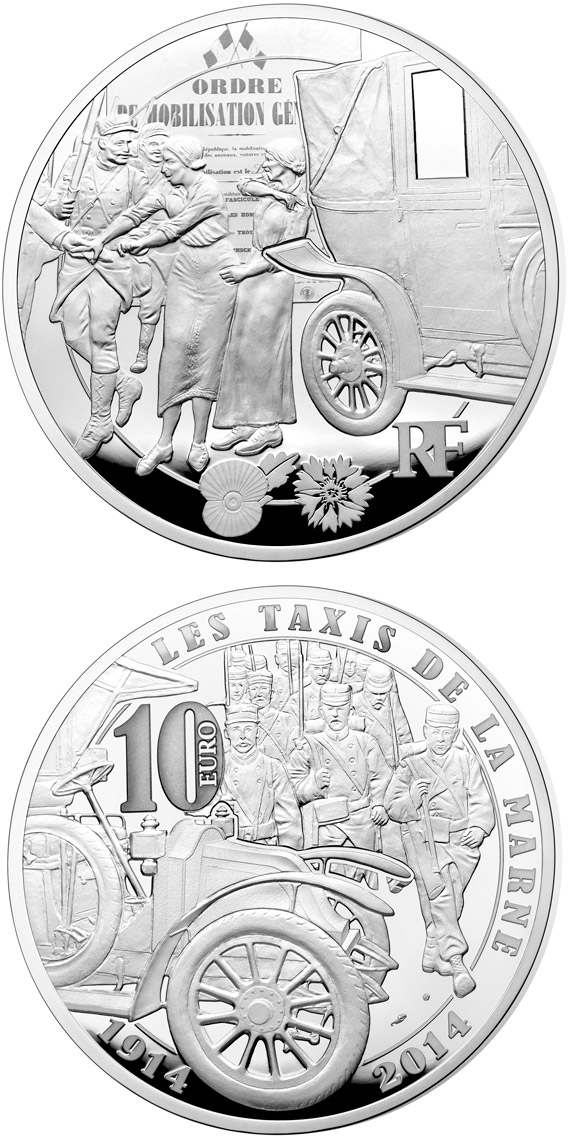 Image of 10 euro coin - Taxis de la Marne | France 2014.  The Silver coin is of Proof quality.