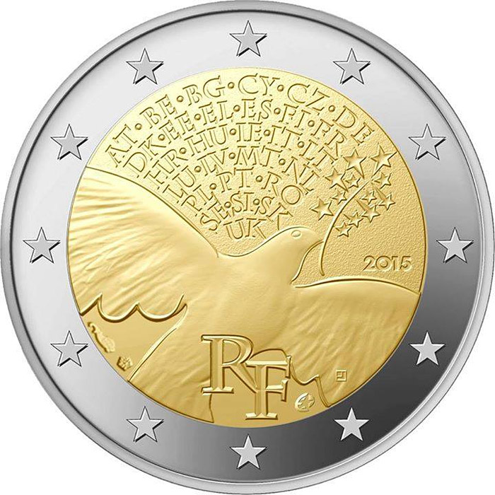 Image of a coin 2 euro | France | 70 Years of United Nations | 2015