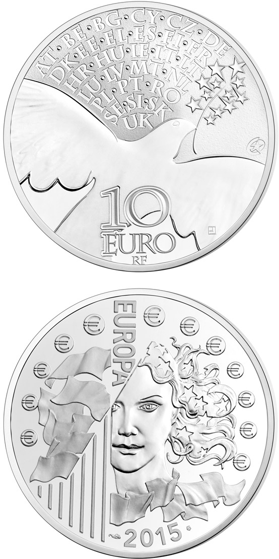 Image of 10 euro coin - 70 years of Peace in Europe | France 2015.  The Silver coin is of Proof quality.