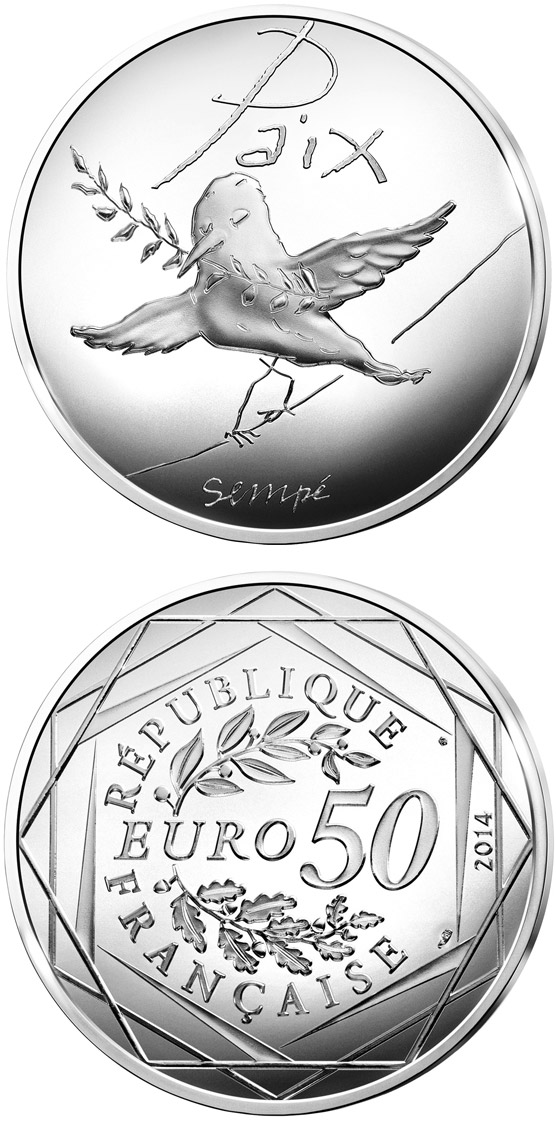 Image of 50 euro coin - Values of the French Republic - 50€ Spring / Summer | France 2014.  The Silver coin is of Proof quality.