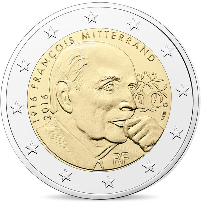 Image of 100th Anniversary of the Birth of François Mitterrand – 2 euro coin France 2016