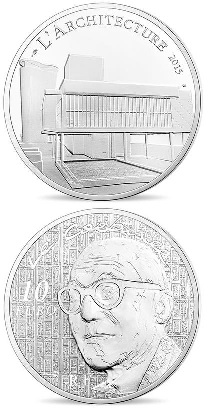 Image of 10 euro coin - The 7 arts Le Corbusier | France 2015.  The Silver coin is of Proof quality.
