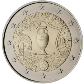 Image of 2 euro coin - 2016 UEFA European Championship  | France 2016
