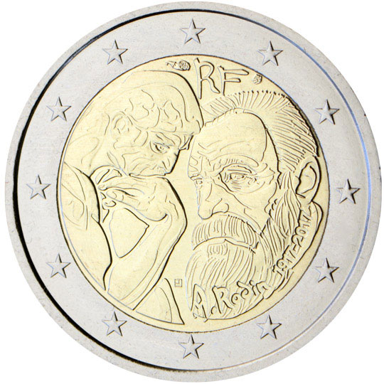 Image of 2 euro coin Centenary of Auguste Rodin  | France 2017