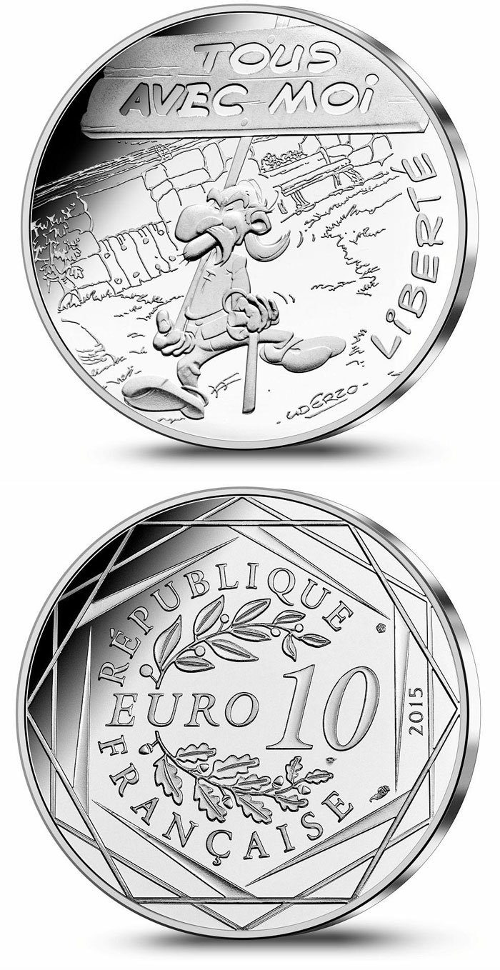Image of 10 euro coin - Liberty Demonstration | France 2015.  The Silver coin is of UNC quality.