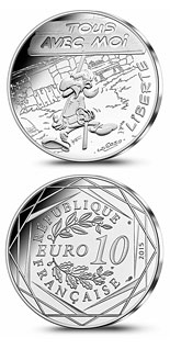 10 euro coin Liberty Demonstration | France 2015