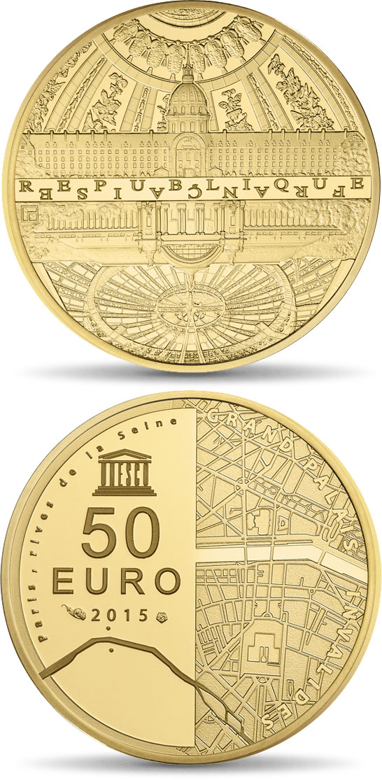 Image of 50 euro coin - The Seine Banks: Invalides - Grand Palais  | France 2015.  The Gold coin is of Proof quality.