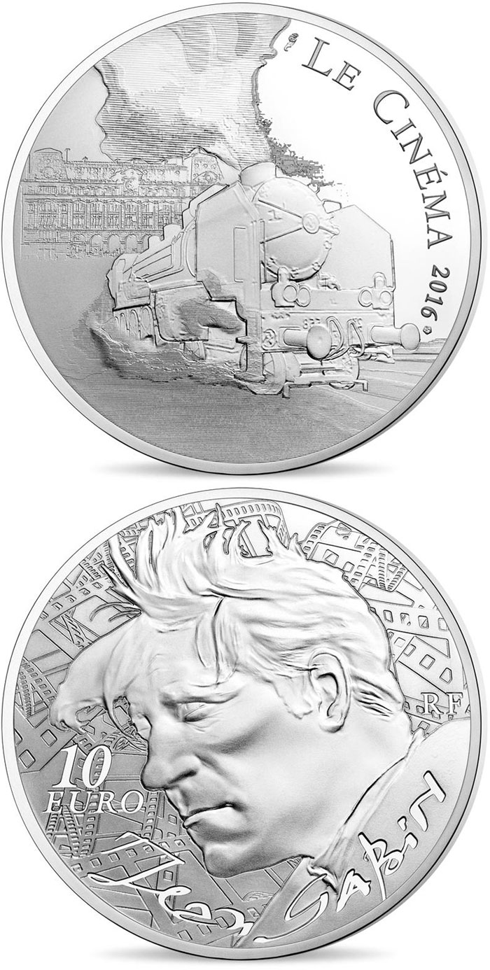 Image of 10 euro coin - Jean Gabin | France 2016.  The Silver coin is of Proof quality.
