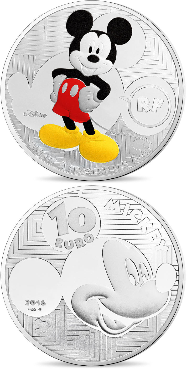 Image of 10 euro coin - Youth Mickey through the ages  | France 2016.  The Silver coin is of Proof quality.