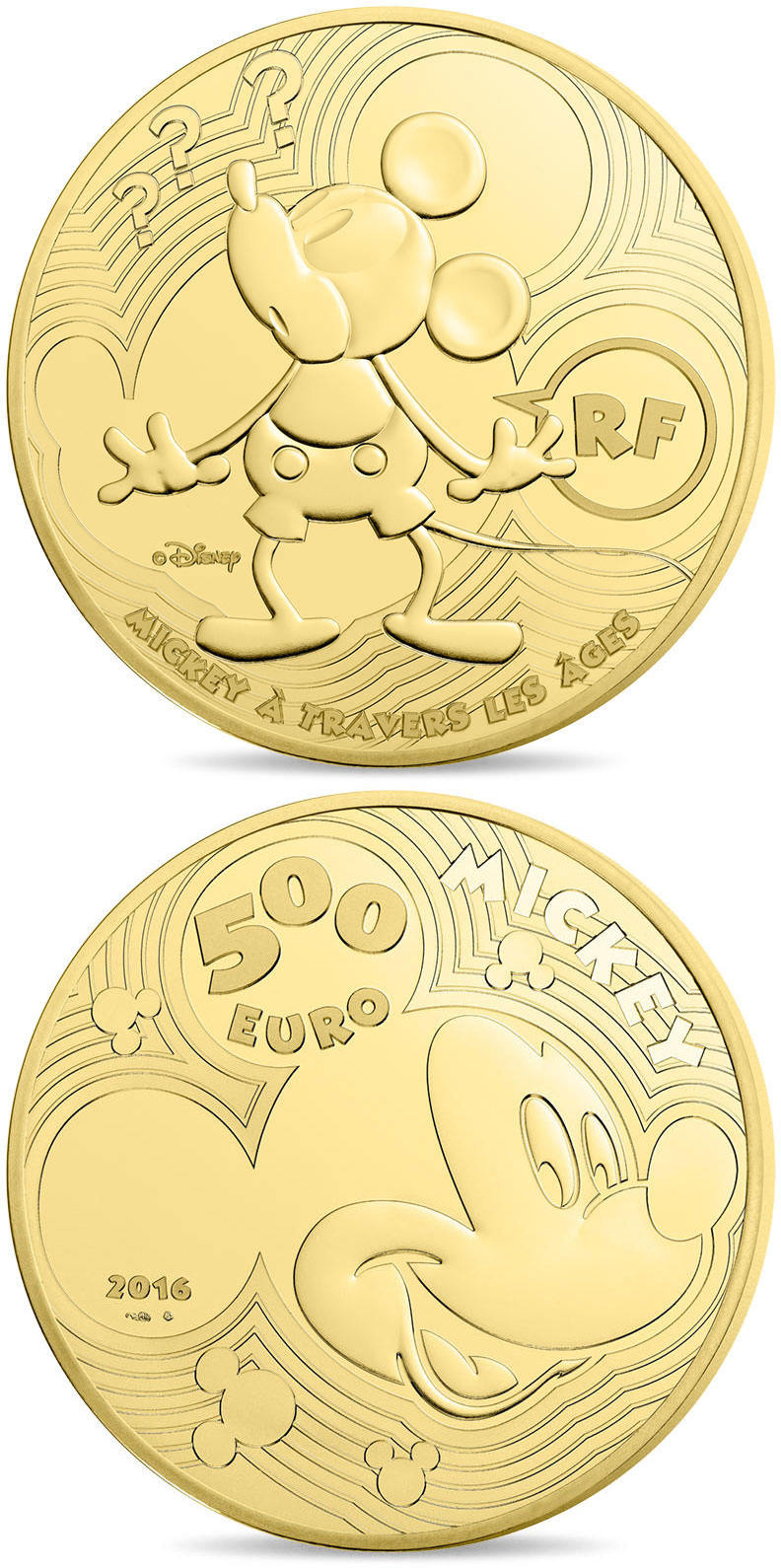 Image of 500 euro coin - Youth Mickey through the ages  | France 2016.  The Gold coin is of Proof quality.
