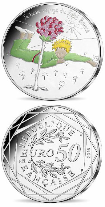 Image of 50 euro coin - The Little Prince's beautiful journey France  | France 2016.  The Silver coin is of UNC quality.