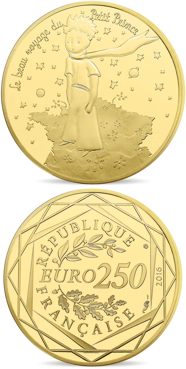 Image of 200 euro coin - The Little Prince's beautiful journey France  | France 2016.  The Gold coin is of BU quality.