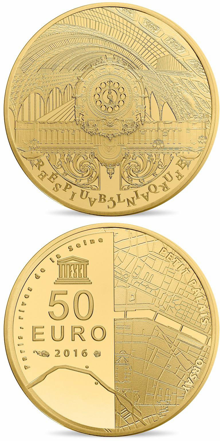 Image of 50 euro coin - The Seine Banks: Orsay - Petit Palais | France 2016.  The Gold coin is of Proof quality.