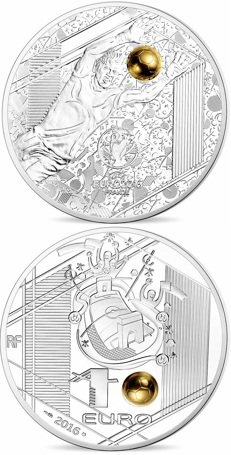 Image of 10 euro coin - UEFA Euro 2016 France  | France 2016.  The Silver coin is of Proof quality.