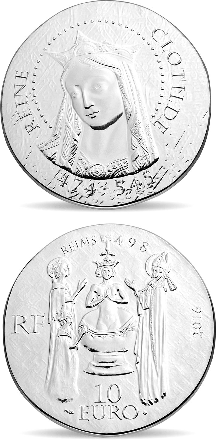 Image of a coin 10 euro | France | Queen Clotilde | 2016