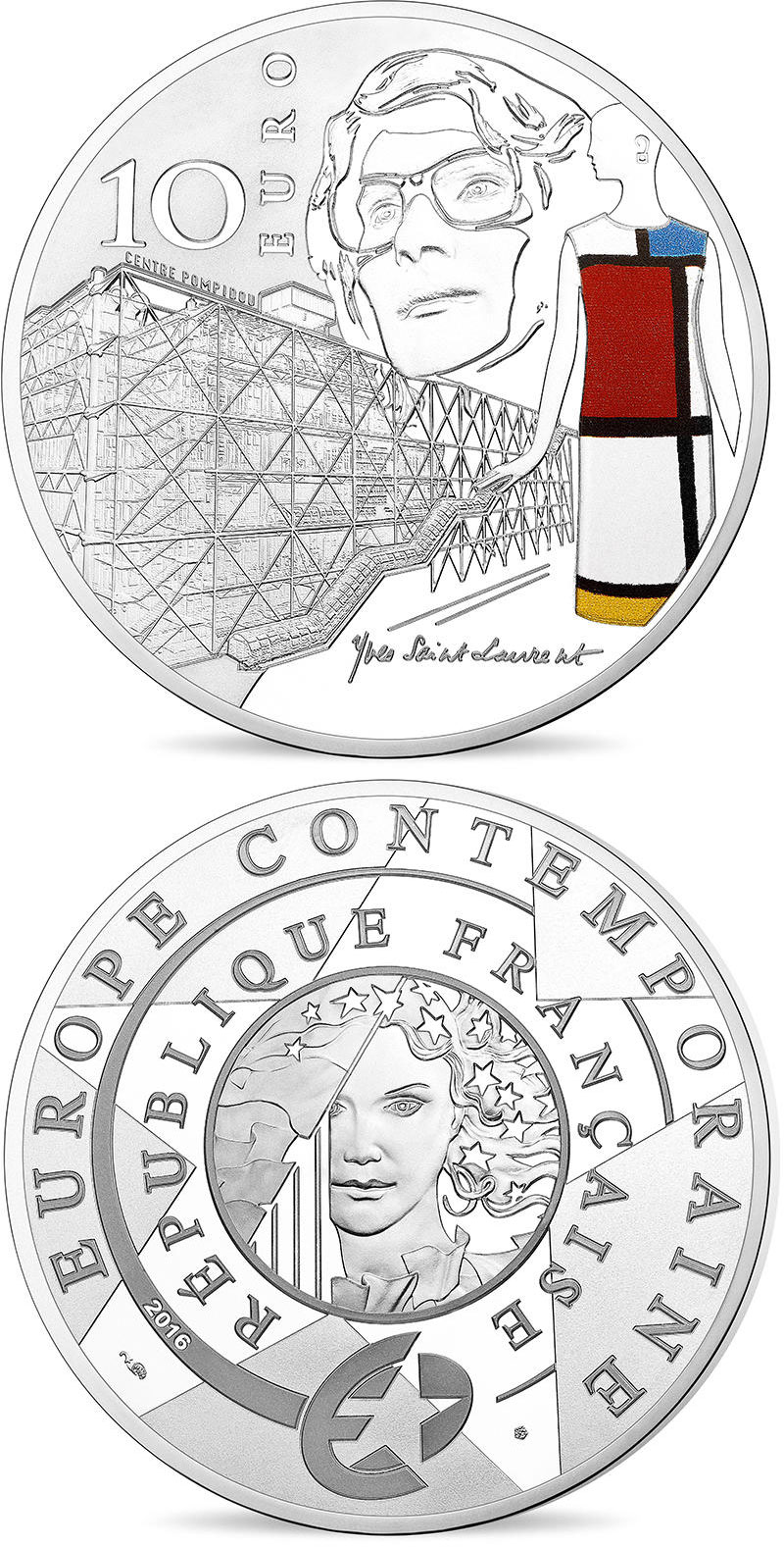 Image of 10 euro coin - Europa: Modern 20th Century  | France 2016.  The Silver coin is of Proof quality.