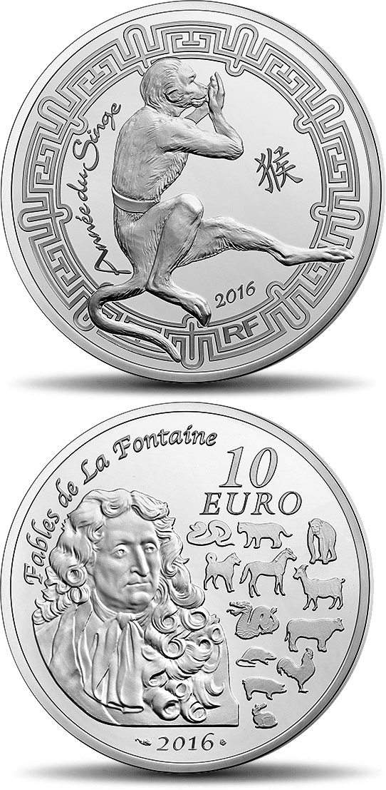 Image of 10 euro coin - Lunar calendar: Year of the monkey | France 2016