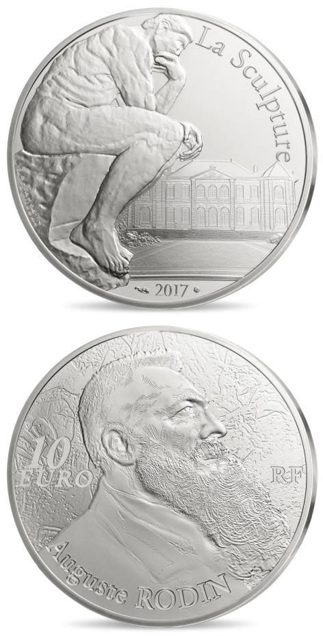 Image of 10 euro coin Auguste Rodin  | France 2017.  The Silver coin is of Proof quality.