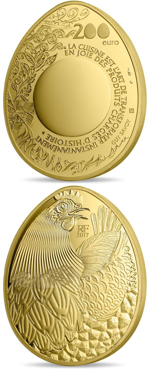 Image of 200 euro coin - Guy Savoy  | France 2017.  The Gold coin is of Proof quality.