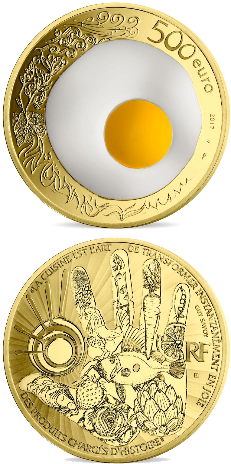 Image of 500 euro coin - Guy Savoy  | France 2017.  The Gold coin is of Proof quality.