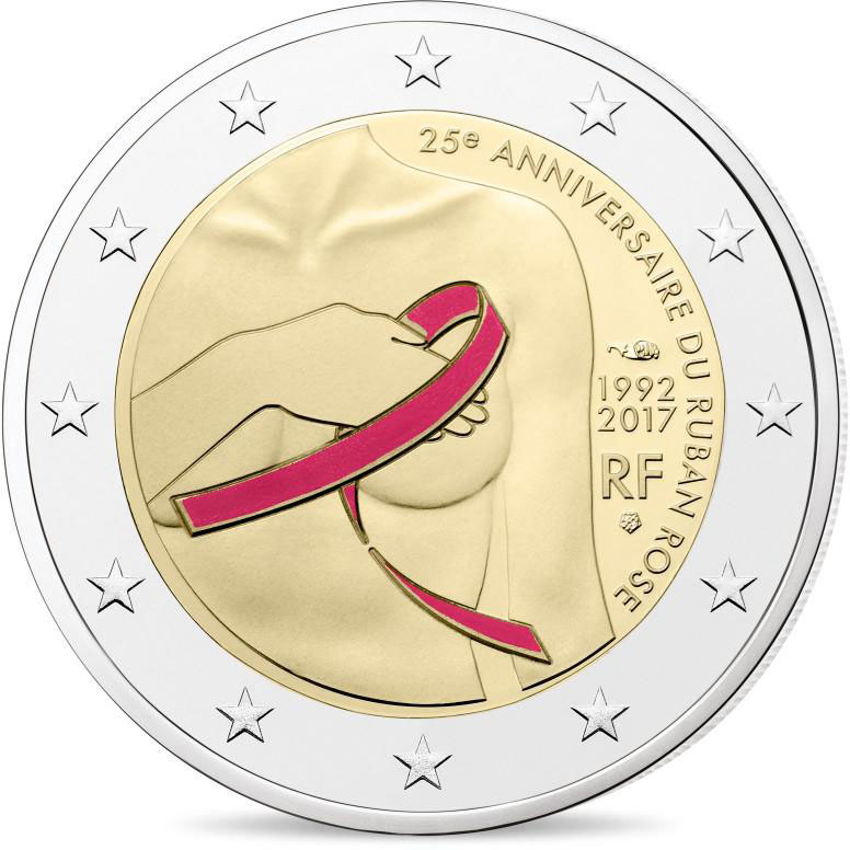 Image of Fight against breast cancer  – 2 euro coin France 2017