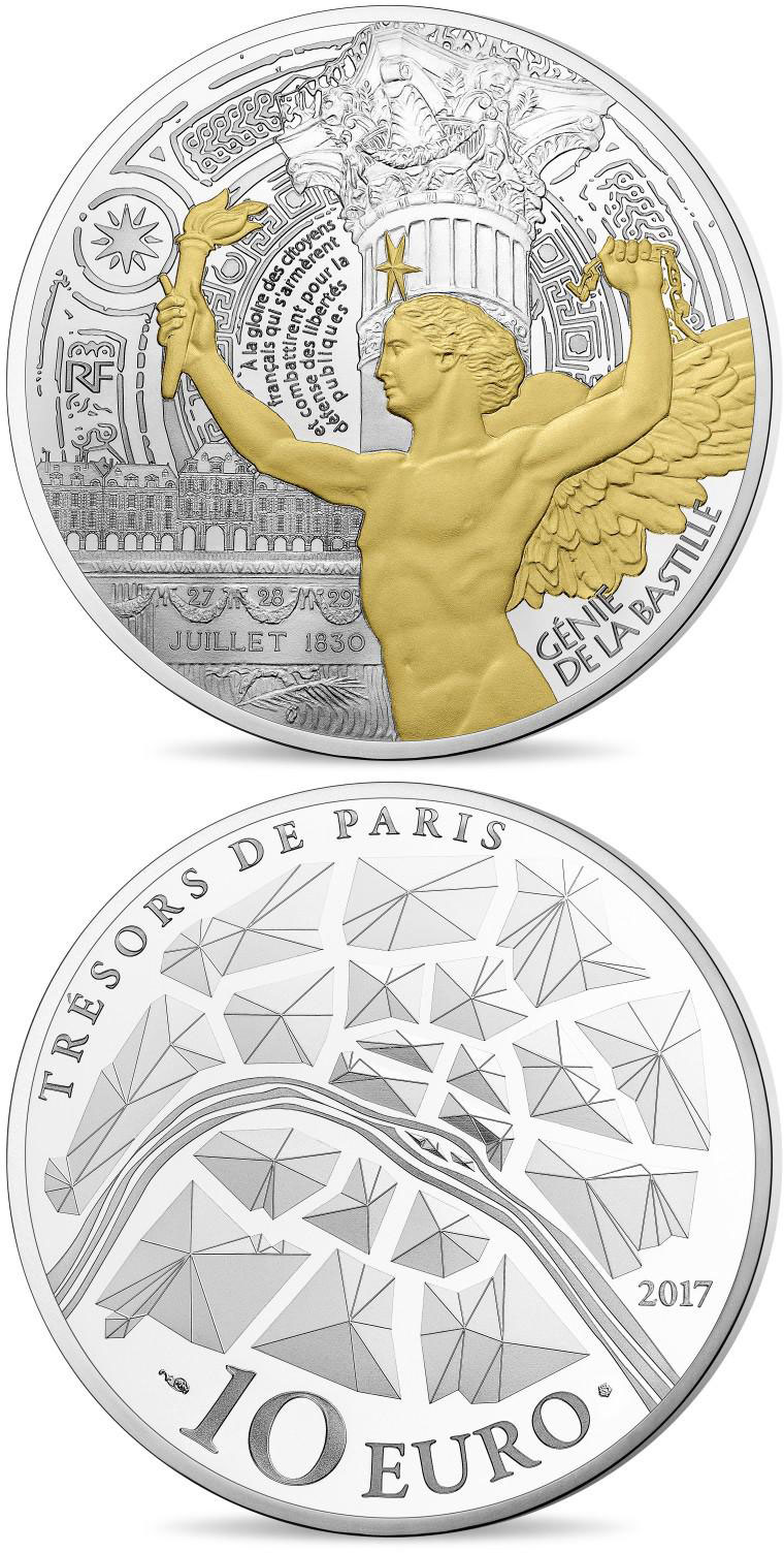 Image of 10 euro coin Génie de la Bastille  | France 2017.  The Silver coin is of Proof quality.