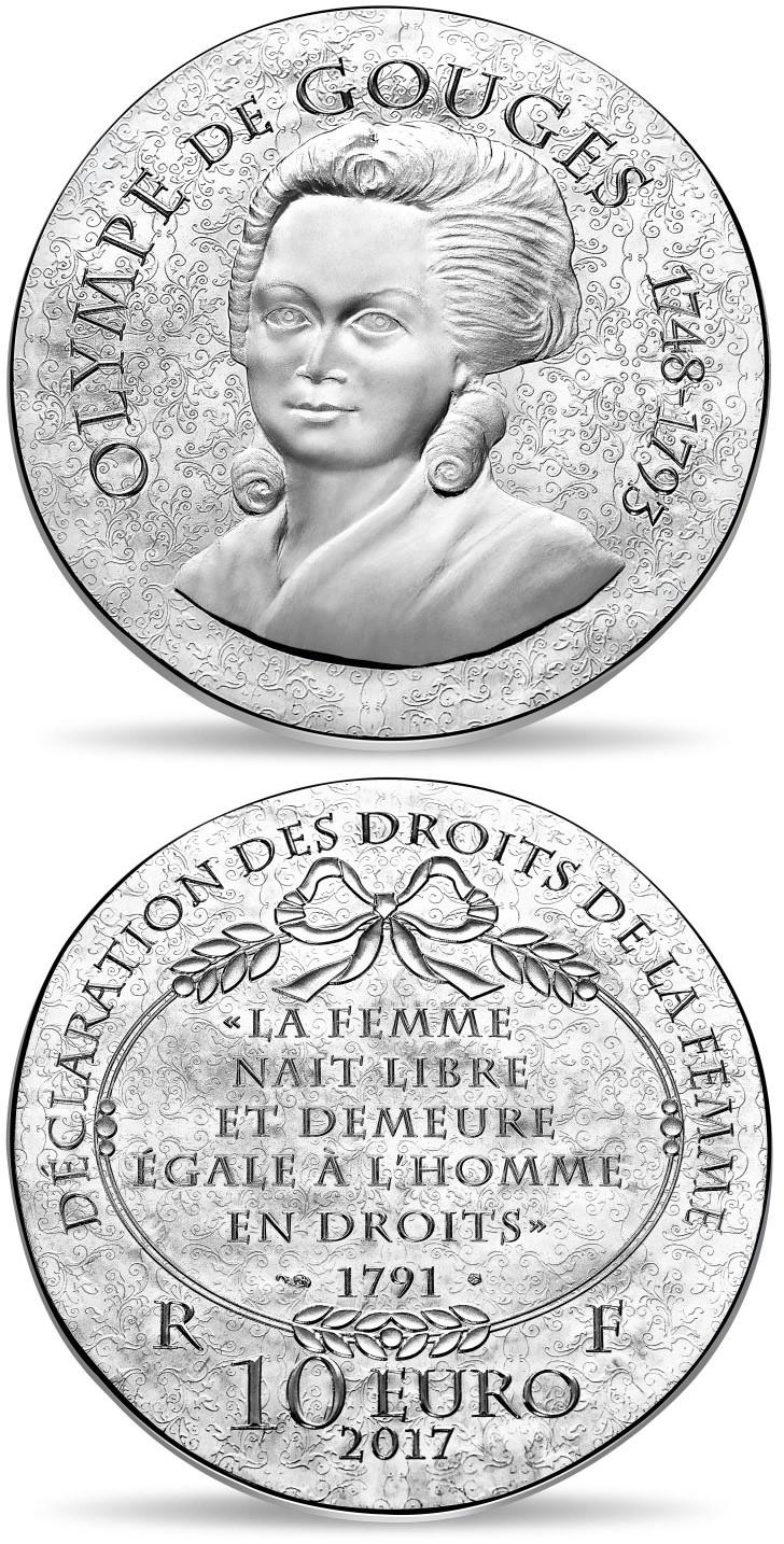 Image of 10 euro coin - Olympe de Gouges | France 2017.  The Silver coin is of Proof quality.