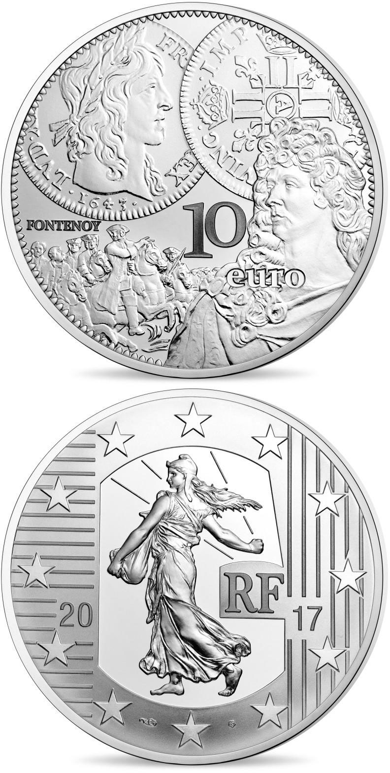 Image of 10 euro coin The Louis d'or  | France 2017.  The Silver coin is of Proof quality.