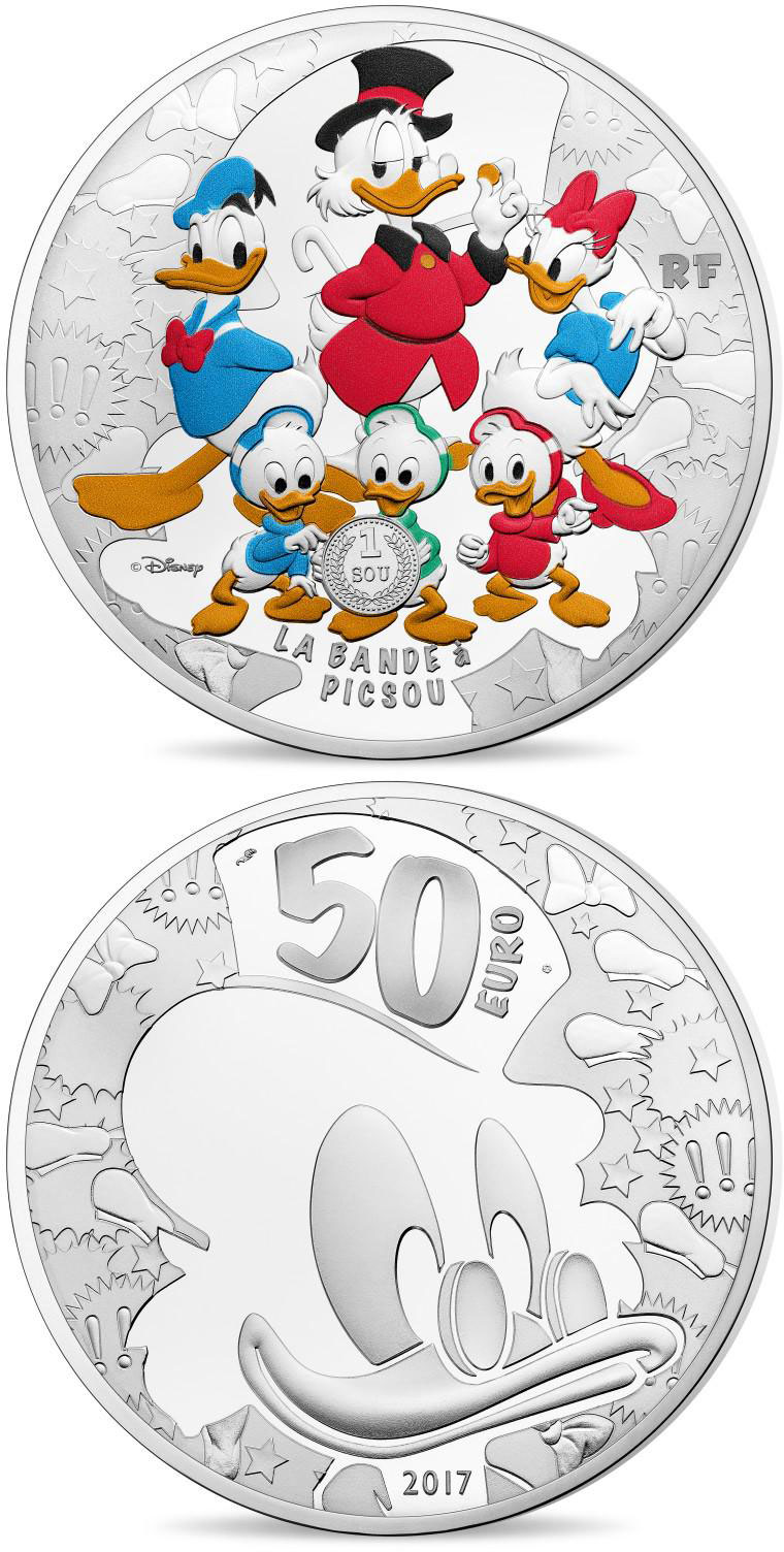 Image of 50 euro coin - Duck Tales | France 2017.  The Silver coin is of Proof quality.